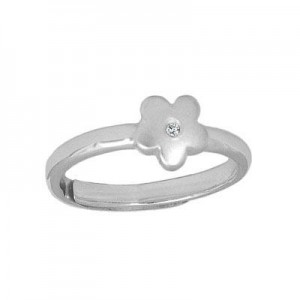 Girls Jewelry - Silver Diamond Flower Adjustable Ring From Size 3 To 6