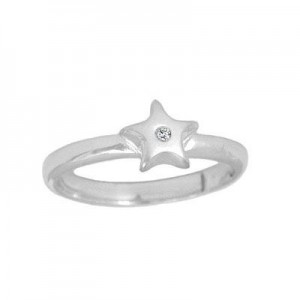 Children's Jewelry - Silver Diamond Star Adjustable Ring From Size 3 To 6
