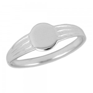 Children & Teens Jewelry - Silver Oval Signet Ring For Boys And Girls (6 Sizes)
