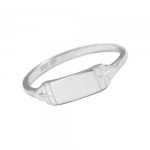 Size 4 Sterling Silver Rectangle Signet Ring For Boys Or Girls