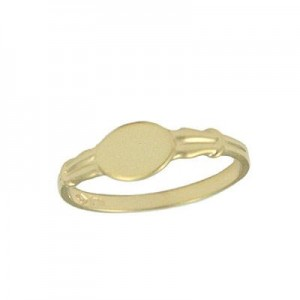 Boy And Girl Jewelry - 10K Yellow Gold Size 3 Oval Shaped Signet Ring