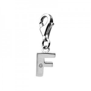 Sterling Silver Diamond Initial F Lobster Clasp Charm For Bracelet