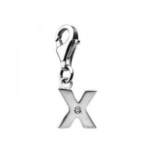 Sterling Silver Diamond Initial X Lobster Clasp Charm For Bracelet