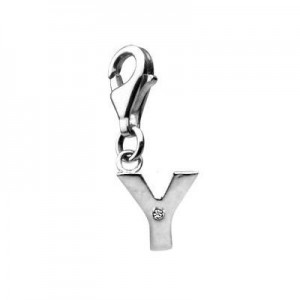Sterling Silver Diamond Initial Y Lobster Clasp Charm For Bracelet