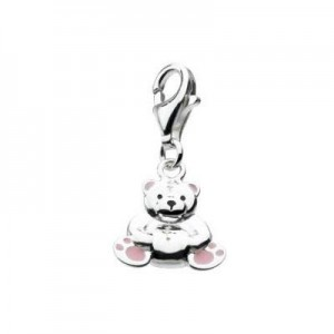 Sterling Silver Enameled Teddy Bear Lobster Clasp Charm For Bracelet