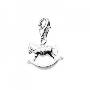 Sterling Silver Rocking Horse Lobster Clasp Charm For Bracelet