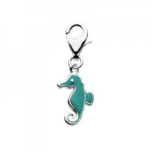 Sterling Silver Enameled Seahorse Lobster Clasp Charm For Bracelet