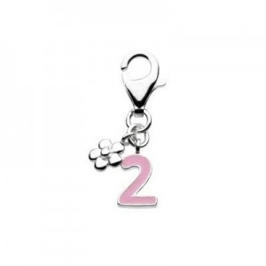 Sterling Silver Enameled Number Two Lobster Clasp Charm For Bracelet