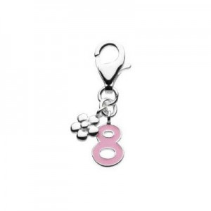 Sterling Silver Enameled Number Eight Lobster Clasp Charm For Bracelet