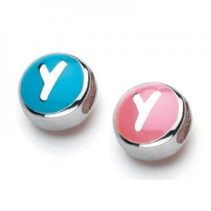 Sterling Silver Enameled Letter Y Bead
