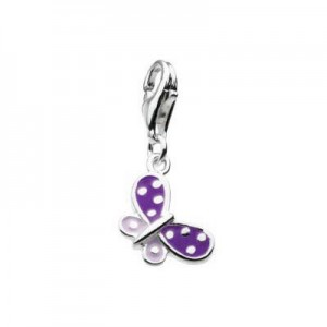 Sterling Silver Purple Enameled Butterfly Lobster Clasp Charm For Bracelet