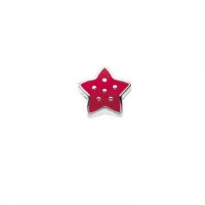 Sterling Silver Red Enameled Star Bead For Girls