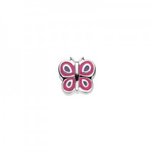 Sterling Silver Red And Black Enameled Butterfly Bead For Girls