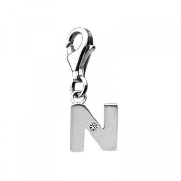 Sterling Silver Diamond Initial N Lobster Clasp Charm For Bracelet