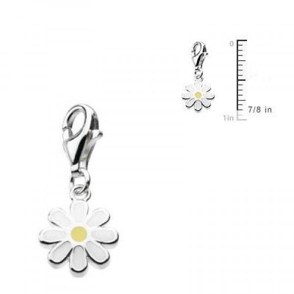 Sterling Silver Enameled Daisy Lobster Clasp Charm For Bracelet