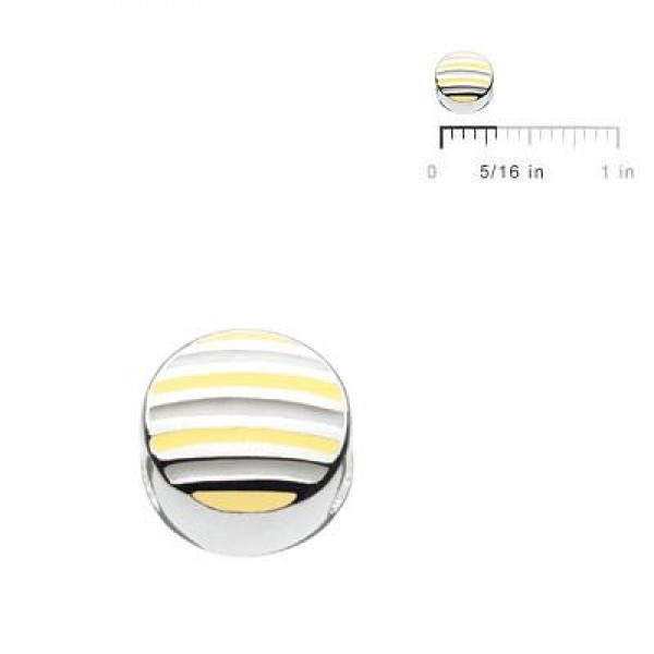 Sterling Silver Yellow And White Enameled Stripes Round Bead