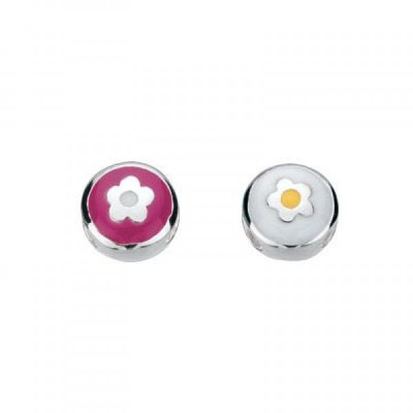 Sterling Silver Enameled Flower Round Bead