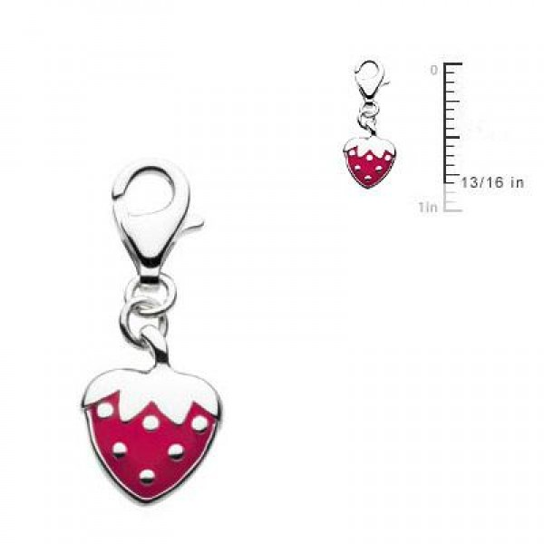 Sterling Silver Red Enameled Strawberry Lobster Clasp Charm For Bracelet