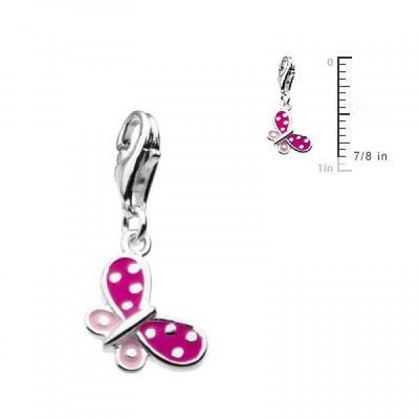 Sterling Silver Enameled Butterfly Lobster Clasp Charm For Bracelet
