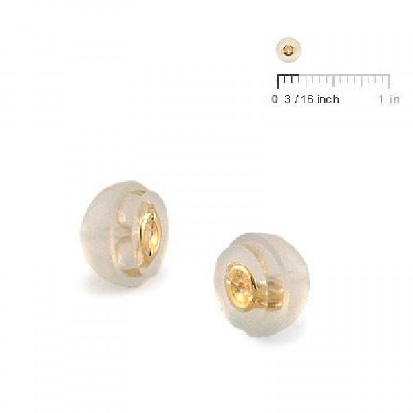 A Pair of 14K Yellow Gold Core Silicone Push On Backs