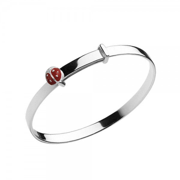 Girl Jewelry - Sterling Silver Ladybug Bangle Bracelet Adjustable Up To 5 1/4 in