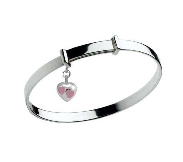Kid's Jewelry - Sterling Silver Pink Heart Charm Adjustable Bangle