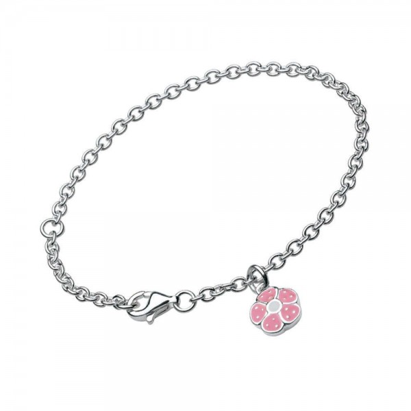 Sterling Silver Pink Enamel Flower Charm Girl's Bracelet (5 1/4,6 1/4 in)