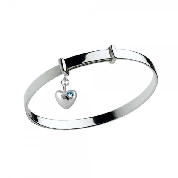Girl's Silver March Birthstone Heart Charm Adjustable Bangle Bracelet