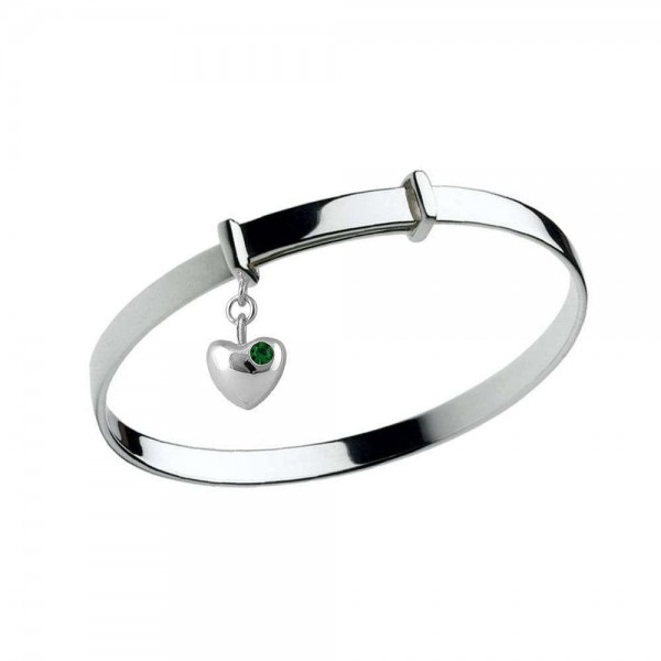 Girl's Silver May Birthstone Heart Charm Adjustable Bangle Bracelet