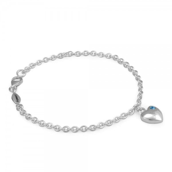 Girls Sterling Silver March Birthstone Heart Charm Bracelet (5 1/2 or 6 1/2 in)