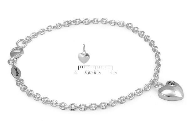 Girls Sterling Silver April Birthstone Heart Charm Bracelet (5 1/2 or 6 1/2 in)