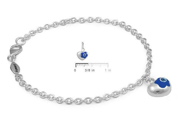 Sterling Silver September Birthstone Flower Heart Charm Girls Bracelet (5 1/2,6 1/2 in)