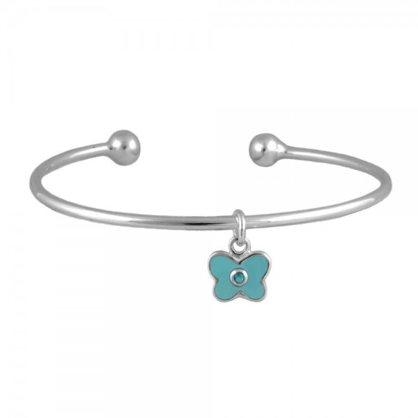 Silver March Birthstone Butterfly Charm Torque Bangle For Girls (up to 7 1/2 in)