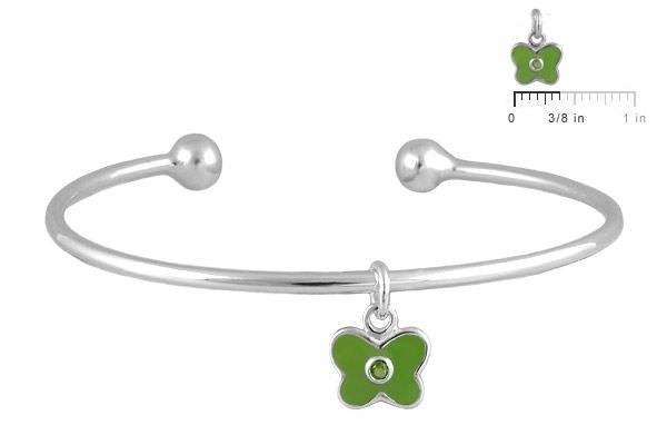 Silver August Birthstone Butterfly Charm Torque Bangle For Girls (up to 7 1/2 in)