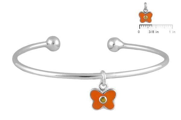 Silver November Birthstone Butterfly Charm Torque Bangle For Girls (up to 7 1/2 in)