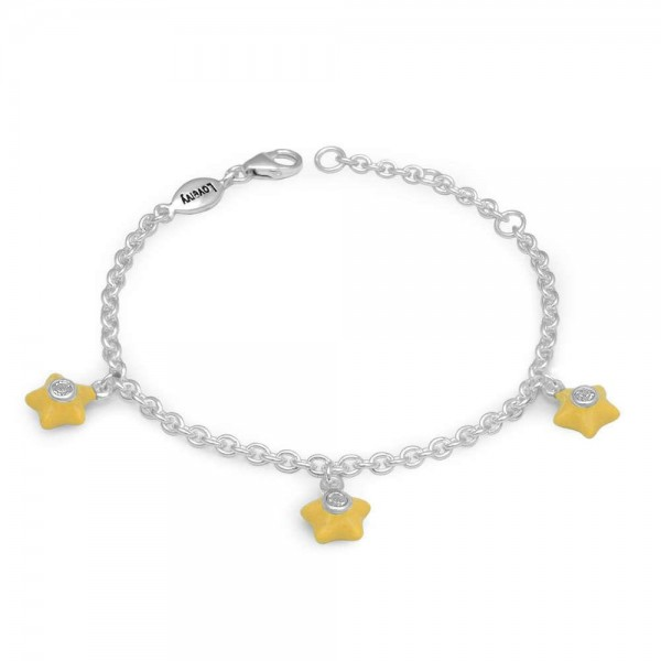 Silver Girls April Birthstone Star Charm Bracelet (5 1/2-6 1/2 In)