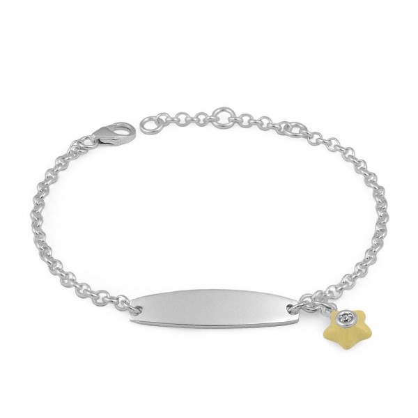 Sterling Silver April Birthstone Star Charm ID Bracelet For Girls (5 1/2-6 1/2 in)