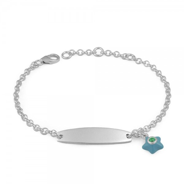 Sterling Silver May Birthstone Star Charm ID Bracelet For Girls (5 1/2-6 1/2 in)