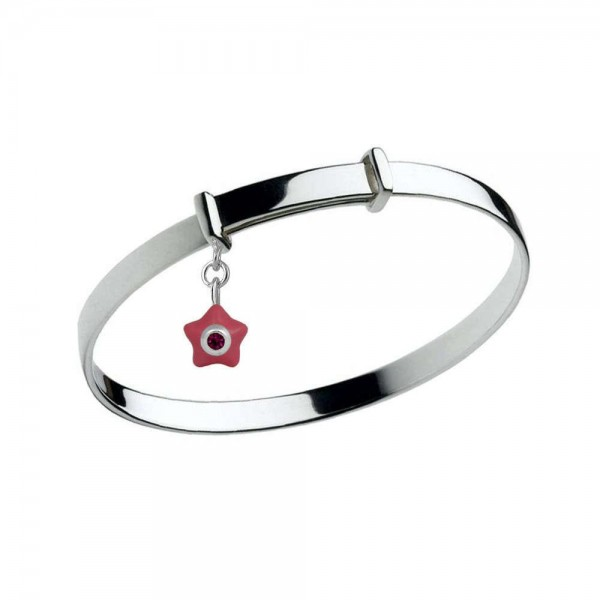 Sterling Silver Kids January Birthstone Star Charm Adjustable Bangle (up to 5 1/4 in)