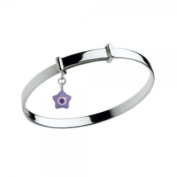 Sterling Silver Kids February Birthstone Star Charm Adjustable Bangle (up to 5 1/4 in)