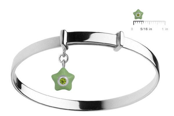 Sterling Silver Kids August Birthstone Star Charm Adjustable Bangle (up to 5 1/4 in)