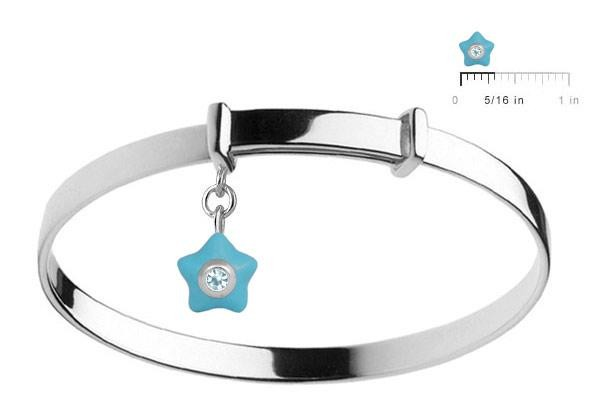 Sterling Silver Kids December Birthstone Star Charm Adjustable Bangle (up to 5 1/4 in)