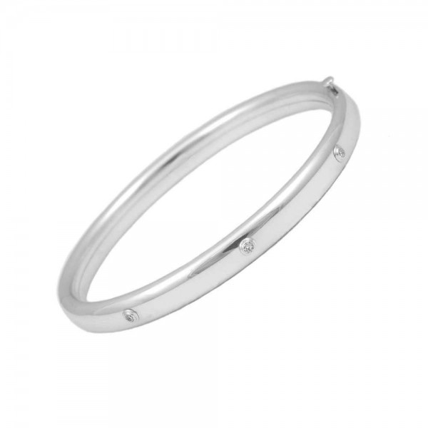 Toddler 5 1/4 In Sterling Silver Three Diamond Accent Bangle Bracelet