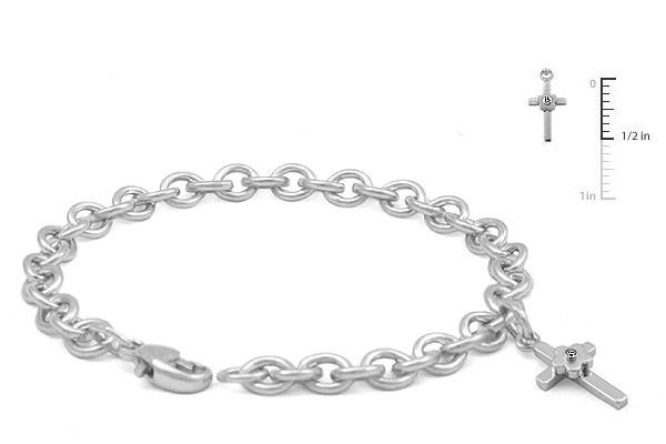 Girls Jewelry - Silver Flower Diamond Cross Charm Bracelet (5 1/4-6 3/4 in)