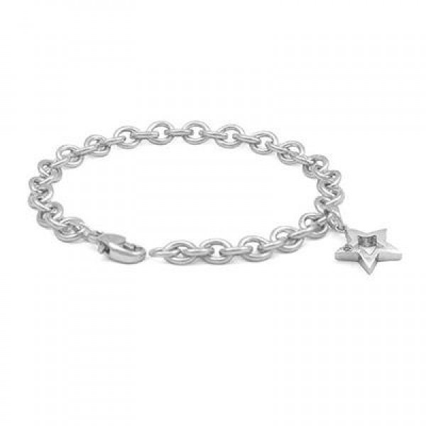 6 3/4 In Sterling Silver Diamond Accent Star Charm Bracelet For Girls
