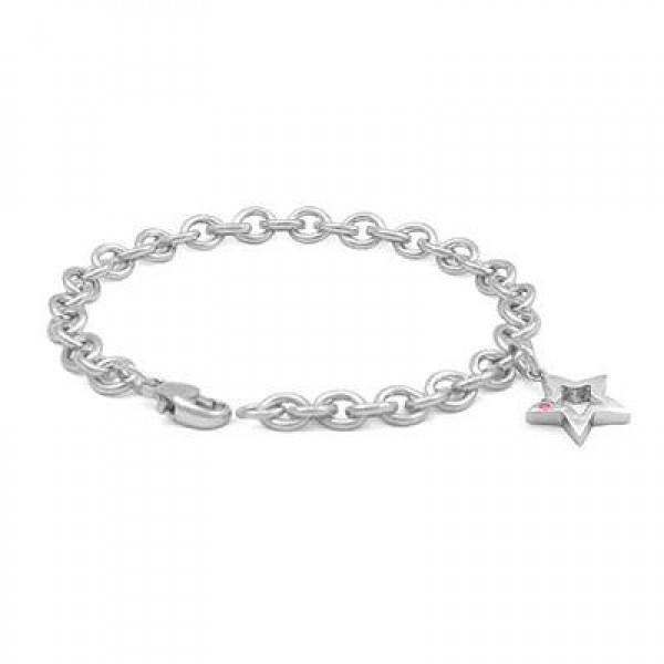 6 3/4 In Sterling Silver Pink Sapphire Star Charm Bracelet For Girls