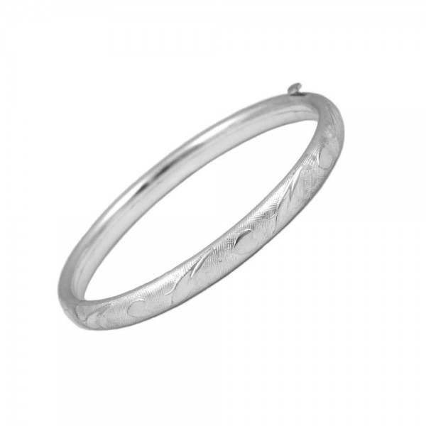 Baby & Toddler Sterling Silver Hearts and Leaves Bangle Bracelet (5 1/4 in)