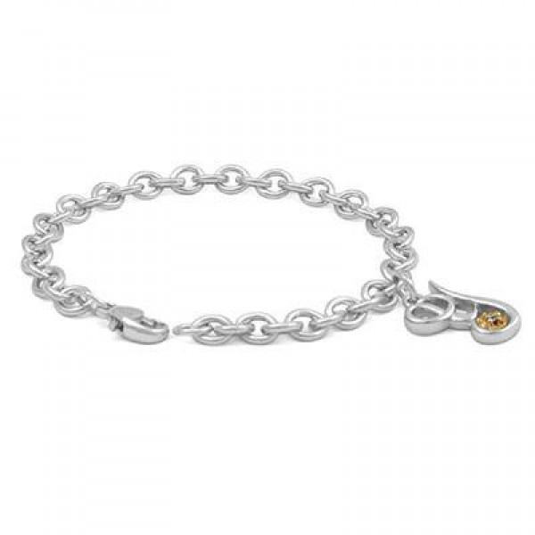 6 3/4 In Silver & 14K Gold Diamond Initial Y Charm Bracelet For Girls