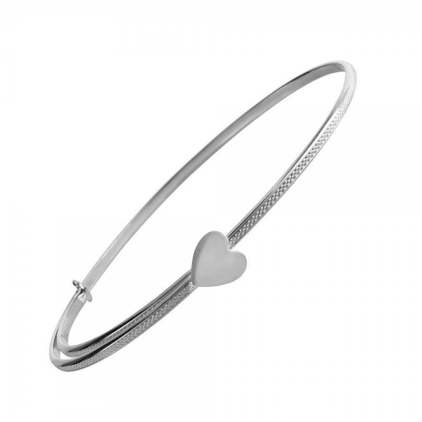 Kids 14K White Gold Heart Adjustable Bangle Bracelet (4 1/2-6 1/2 in)