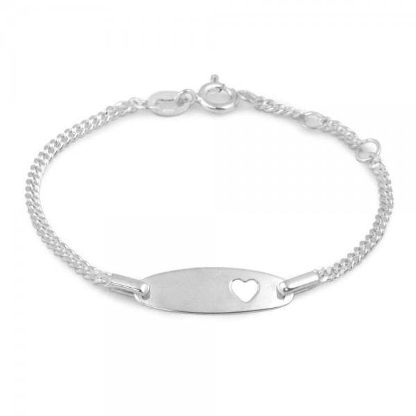 4 3/4 - 5 1/2 In Silver Heart ID Bracelet For Baby And Toddler Girls